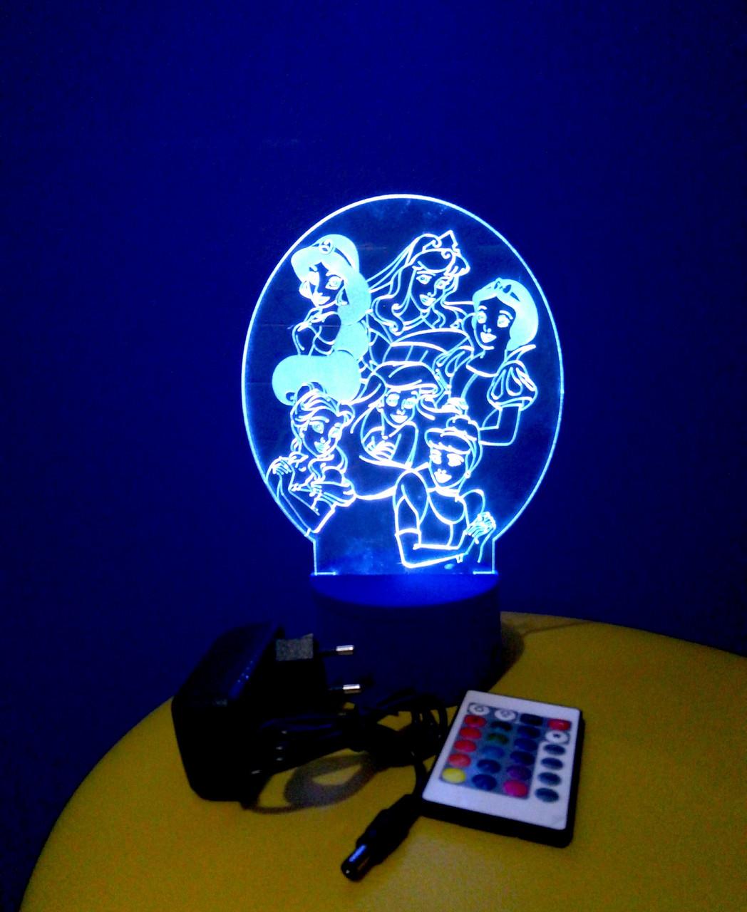 3d-світильник Принцеси Дісней, 3д-нічник, кілька підсвічувань (на пульті)