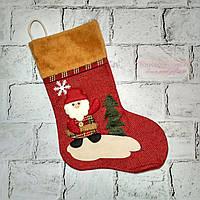 Новогодний носок для подарков, Санта, красный