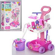 Детский набор для уборки A5953: тележка на колесах, ведро, щетка, моющие средства