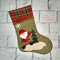 Новогодний носок для подарков, Санта, зеленый