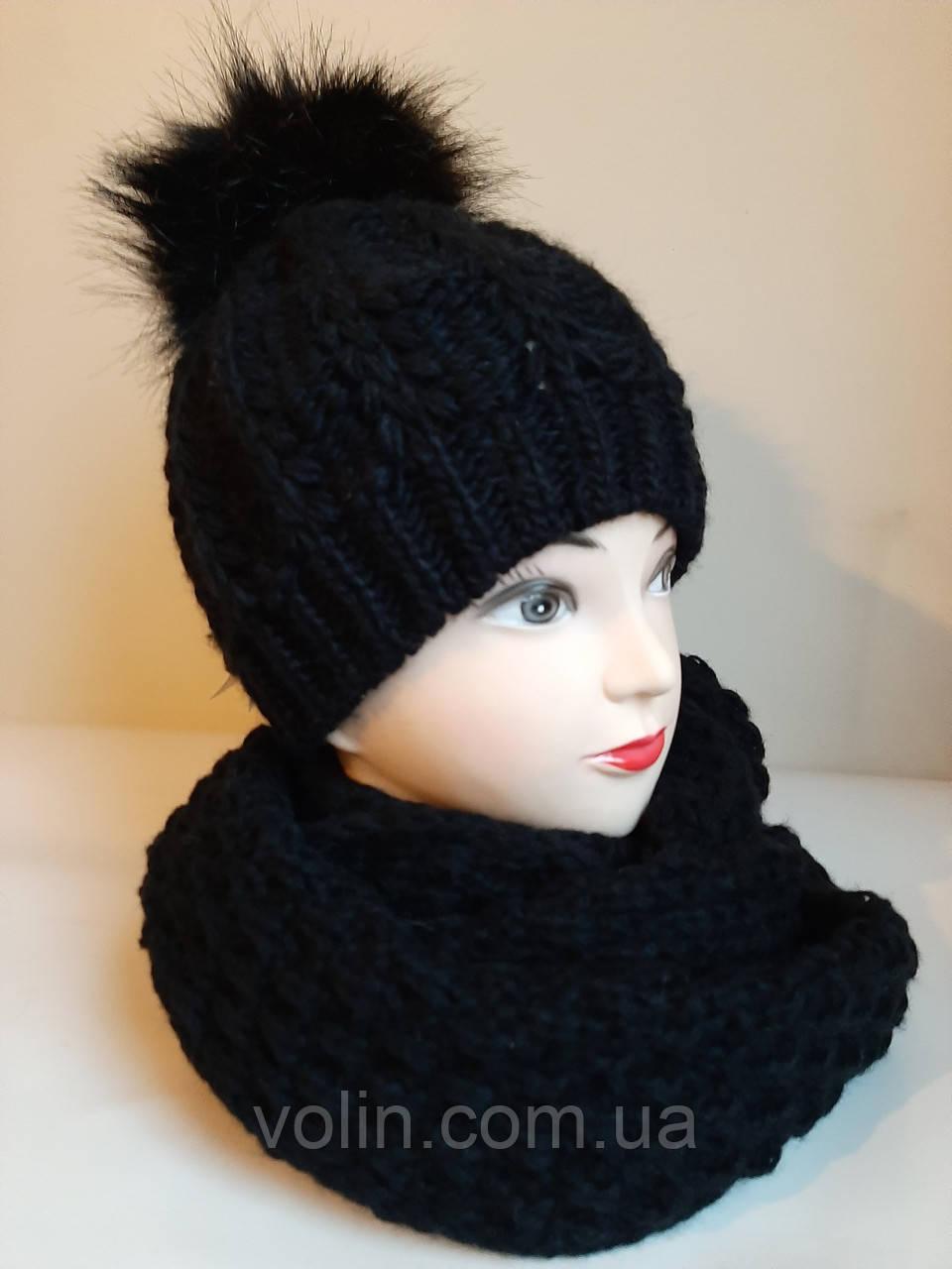 Комплект шапка і снуд жіночий в'язаний La Retto 3178.