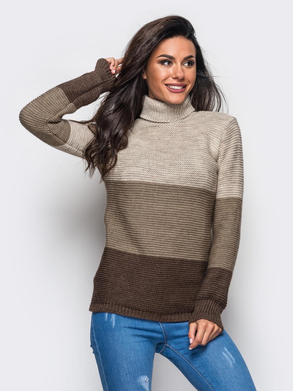 (S-L) Жіночий в'язаний бежево-коричневий светр Karisa