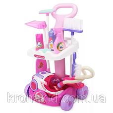 Детский набор для уборки Limo Toy A5938: тележка на колесах, пылесос 19*12,5 см звук, батар., фото 2