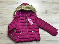 Зимняя куртка на синтепоне  для девочек 6,8,10,12,14 лет Цвет синий, малиновый, черный