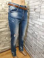 Женские джинсы голубая варка, с высокой талией