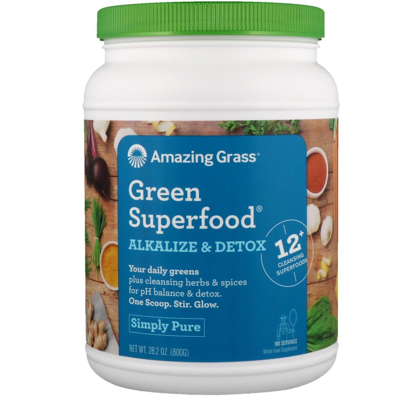 Amazing Grass, Зеленый суперпродукт, для ощелачивания и выведения токсинов, 28.2 унций (800 г)