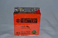 Аккумулятор 12V 5Ah гелевый высокий с цифровым вольтметром (119х60х129) YB5L-BS (оранжевый) BATTERY