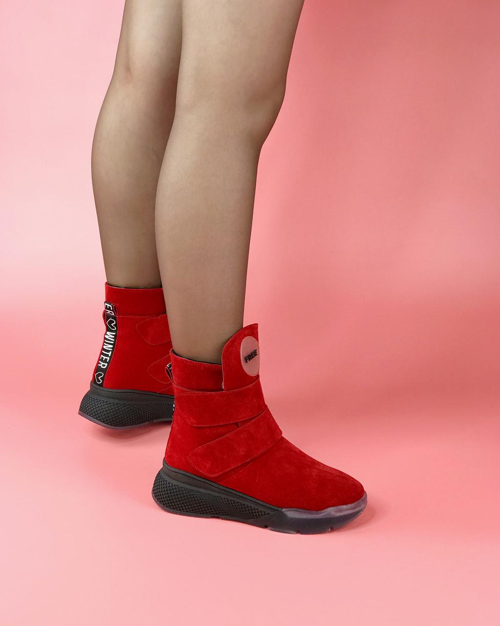 Ботинки сникерсы женские замшевые красные на липучках MORENTO зимние