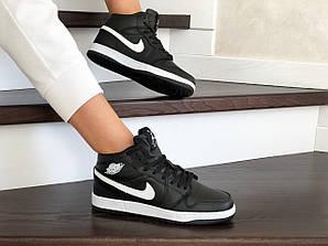 Кеды женские прошитые найк аир Джордан черные с белым (реплика) Nike Air Jordan 1 Retro Black
