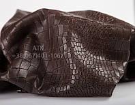 Кожа натуральная Bruschetta с тиснением Аллигатор темно-коричневая