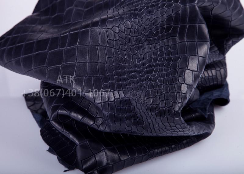 Кожа Bruschetta с тиснением Аллигатор темно-синяя