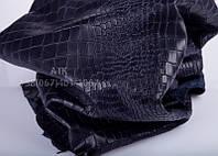 Кожа винтажная с тиснением Аллигатор темно-синяя
