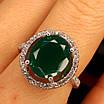 Срібне кільце із зеленим кварцом - Жіноче срібне кільце з кварцом, фото 8