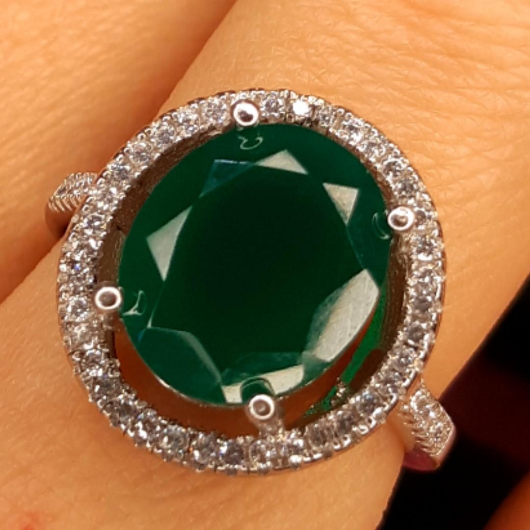 Серебряное кольцо с зеленым кварцем - Женское серебряное кольцо с кварцем