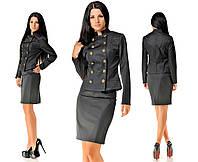 Костюм черный Милитари юбка и пиджак