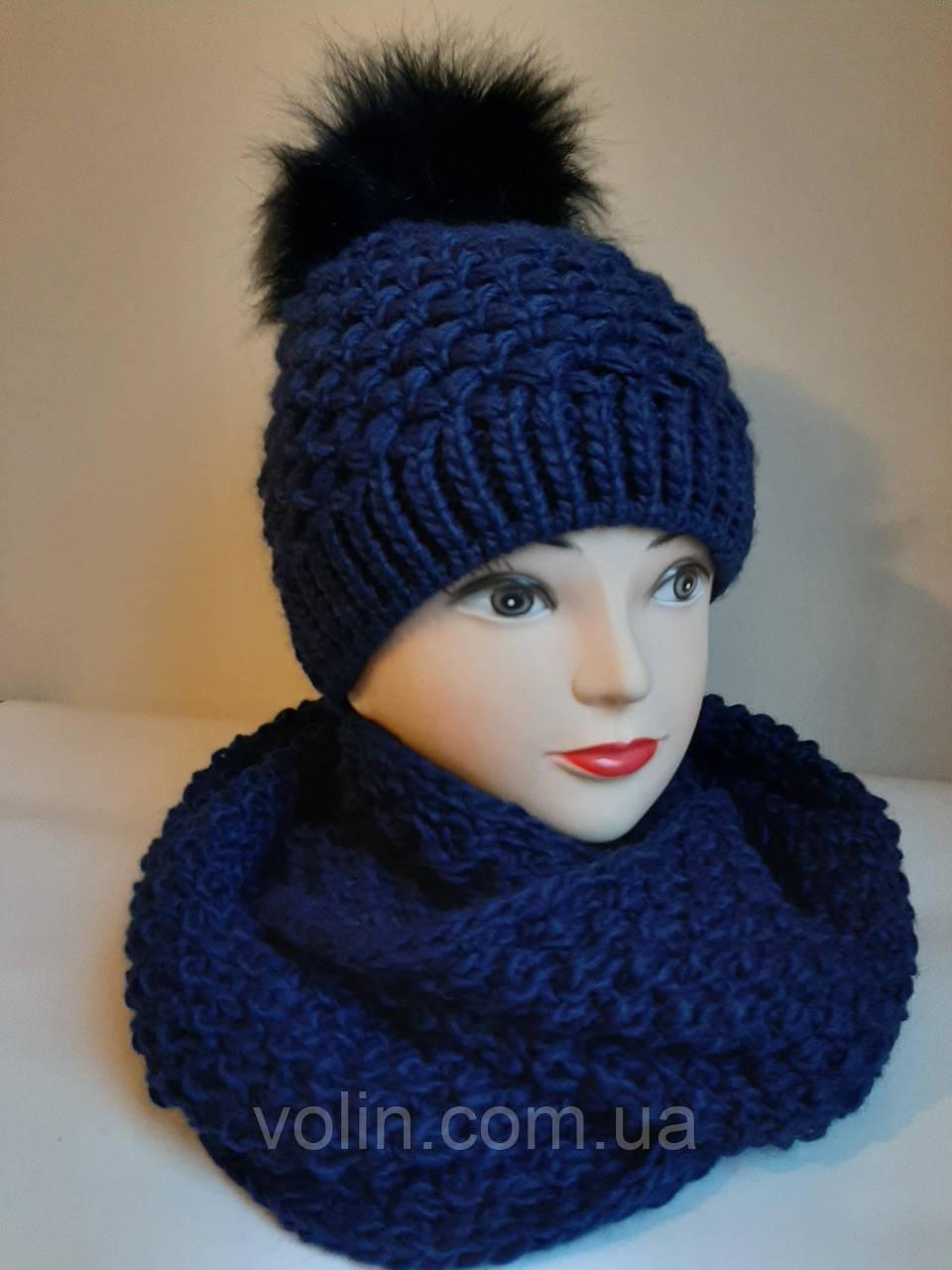 Комплект шапка и снуд женский вязаный La Retto 3155.