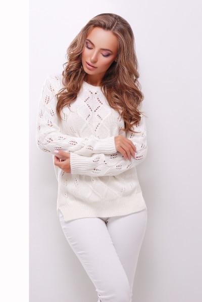 S-L / Стильний молочно-білий в'язаний светр Aleksa