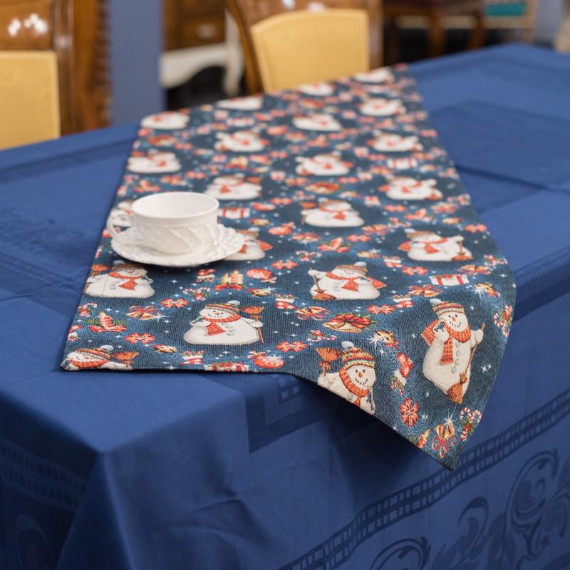Раннер гобеленовий з люрексом Новорічний Іспанія Villa Grazia Premium Сніговики 45x140 см