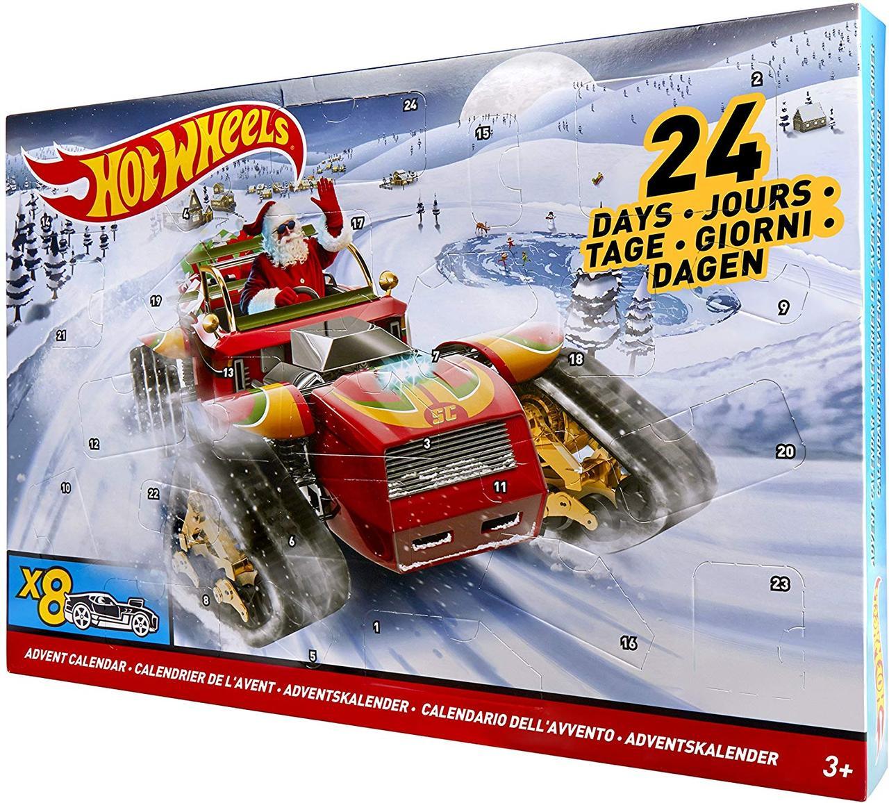 Різдвяний календар Hot Wheels Новогодний Адвент календарь Хот Вилс , Hot Wheels рождественский календарь)