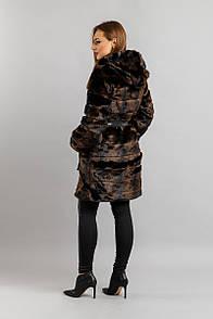 """Жіноча шуба з штучного хутра на змійці, з капюшоном """"Patricia"""" - 42, 44, 46, 48, коричневий, граніт"""