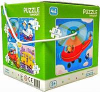 """Пазл DoDo 4 в 1 """"Транспорт"""" 300132 Развивающие красивые пазлы для детей! Детская головоломка!"""