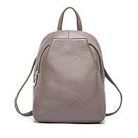 Рюкзак сумка (трансформер) женский городской кожаный  (серый)