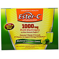 American Health, Эфир-С шипучий, натуральный лимон-лайм, 1000 мг, 21 пакет, 10 г (0,35 унции) каждый