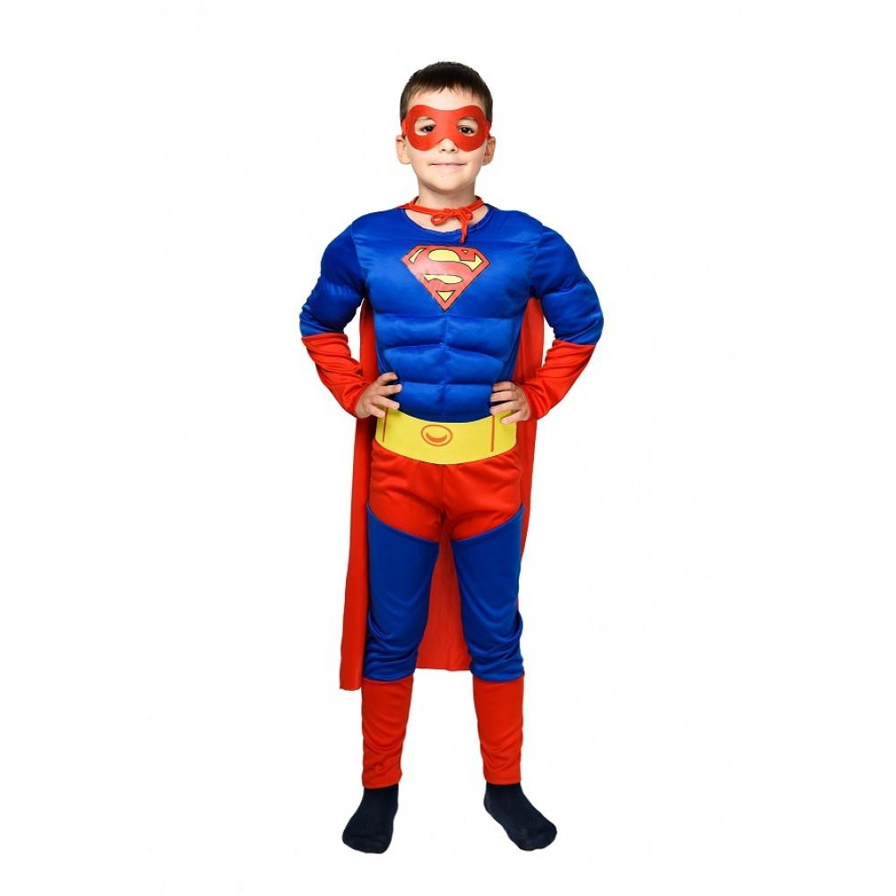 Детский карнавальный костюм СУПЕРМЕН с мышцами для мальчика 4,5,6,7,8,9 лет новогодние костюмы супергероев