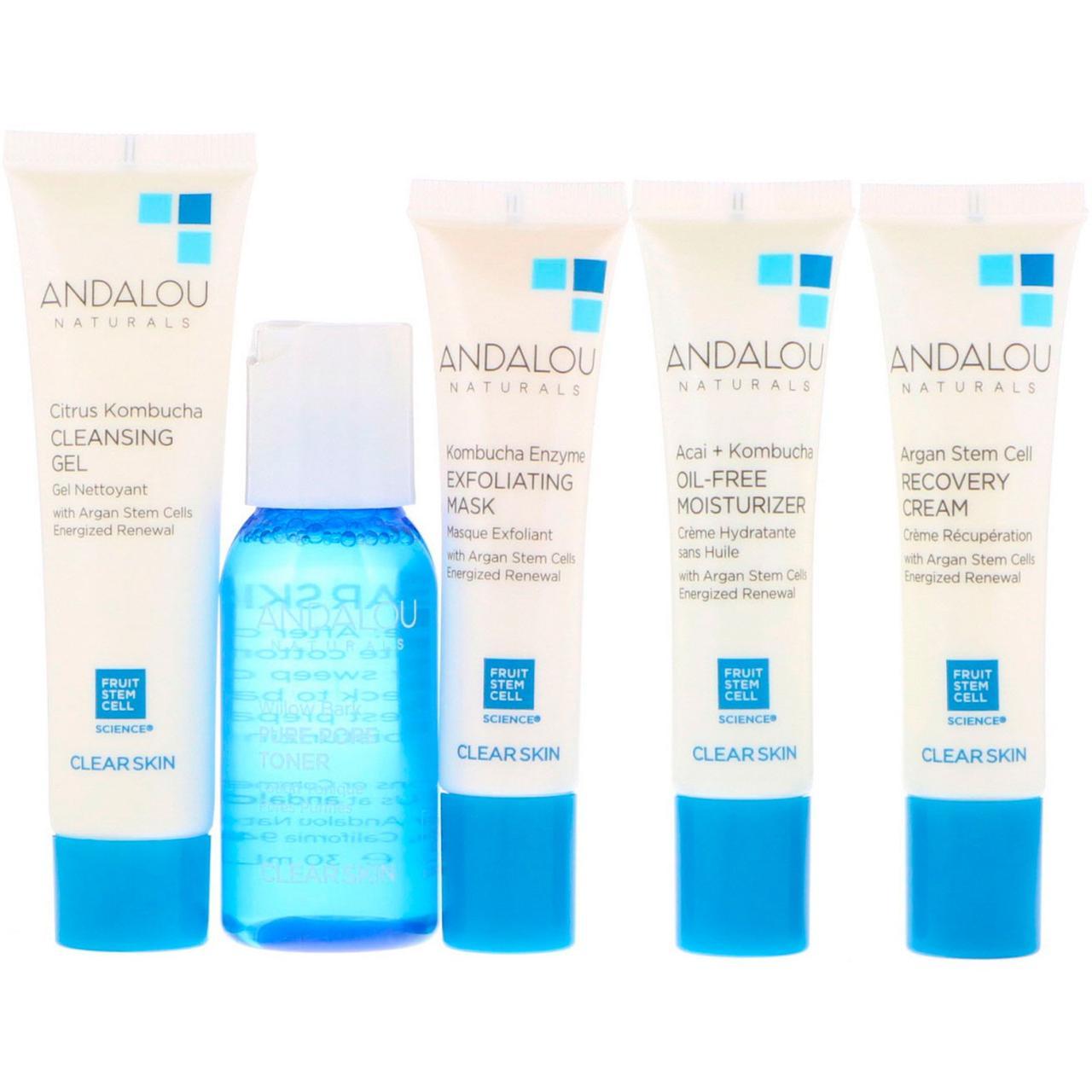 Набір по догляду за обличчям (Skin Care Essentials), Andalou Naturals, 5 шт