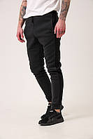 Спортивные штаны с лампасами мужские зимние теплые на флисе темно-серые (антрацит), фото 1