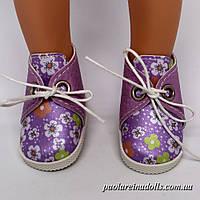 Ботиночки сиреневые цветочки для кукол Паола Рейна