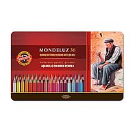 Набор цветных акварельных карандашей 36 шт. KIN в металлической коробке 3725 Mondeluz