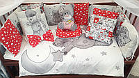 """Набор постельного белья детскую кроватку/ манеж """"Тедди"""" - Бортики в кроватку: конверт-плед  - 8 предметов"""