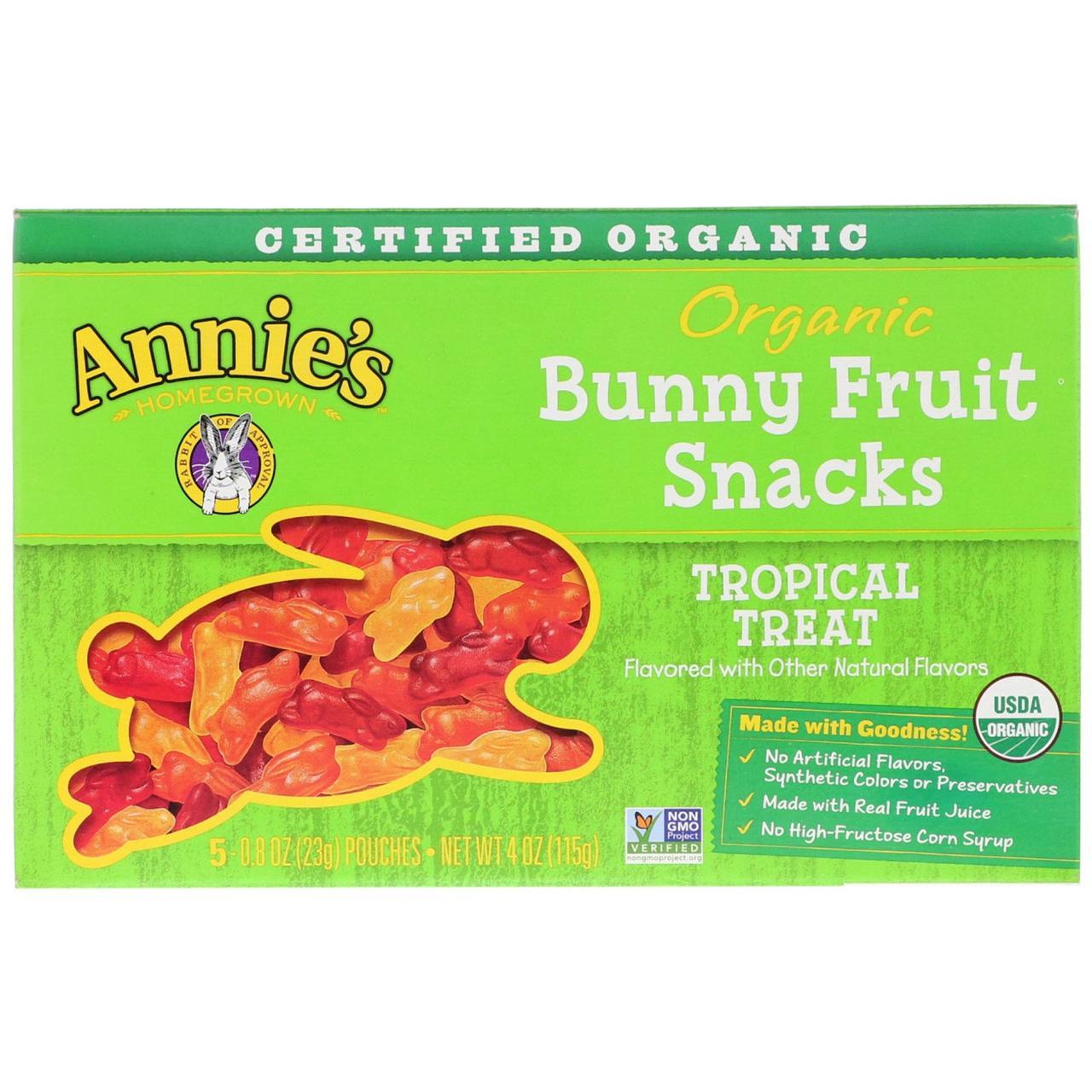 Снеки в виде кроликов, вкус тропик, Bunny Fruit, Annie's Homegrown, 5 пакетов по 23 г