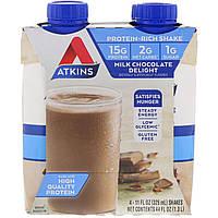 Шейк со вкусом молочного шоколада, Atkins, Advantage, 4 шейка
