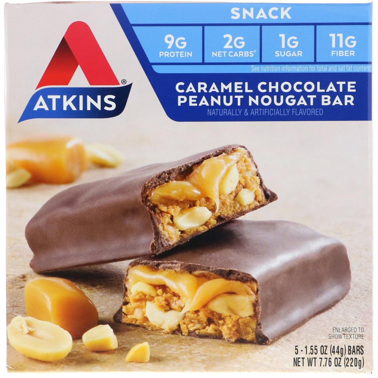 Батончики с карамелью, шоколадом, арахисом и нугой, Chocolate Bar, Atkins, Caramel, 5 бат.