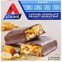Батончики с карамелью, шоколадом, арахисом и нугой, Chocolate Bar, Atkins, Caramel, 5 бат., фото 1