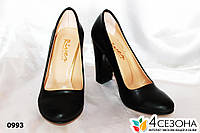 Женские туфли лодочка на широком каблуке ,черные мат