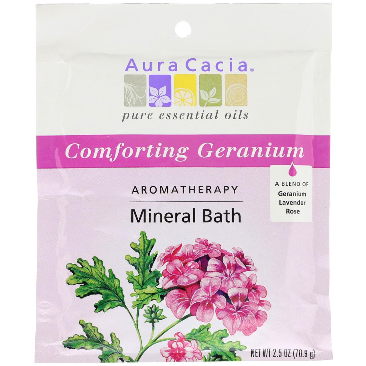 Соли для ванн (герань), Mineral Bath, Aura Cacia, 70.9 г
