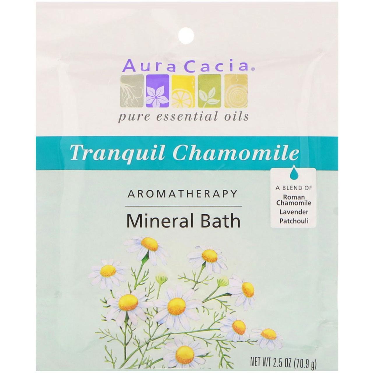 Aura Cacia, Ароматерапевтическое минеральное средство для ванны, успокаивающая ромашка, 2,5 унции (70,9 г)