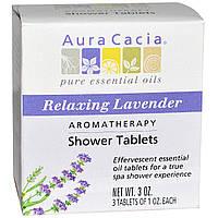 Aura Cacia, Ароматерапевтические таблетки для душа, расслабляющая лаванда, 3 таблетки по 1 унции