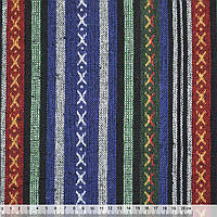 Тканина етно синьо-зелені, чорні смуги з орнаментом ш.145 (22803.064)