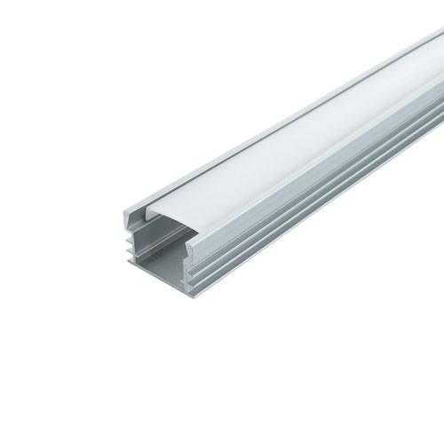 Комплект. Профиль для светодиодной ленты накладной 12х16 мм. ЛП12 Прозрачный Анодированный