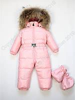 Пуховый сдельный комбинезон Moncler с натуральным мехом розовый