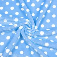 Велсофт односторонний голубой в белый горох ш.180 ( 23216.003 )