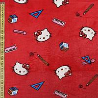 Велсофт двухсторонний красный, кошечки Китти, ш.185 (23219.002)