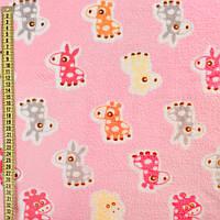 Велсофт двухсторонний розовый, оранжевые, розовые ослики, жирафы, ш.185 (23223.001)