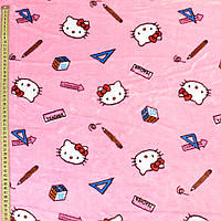 Велсофт двухсторонний розовый светлый, кошечки Китти, ш.185 (23223.004)