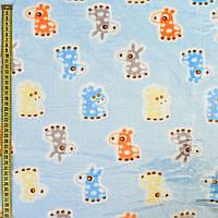 Велсофт двухсторонний голубой, оранжевые, голубые ослики, жирафы, ш.185 (23223.005)