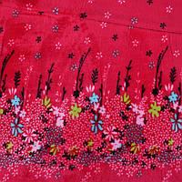 Велсофт двухсторонний красный купон цветы ш.190 (23225.001)